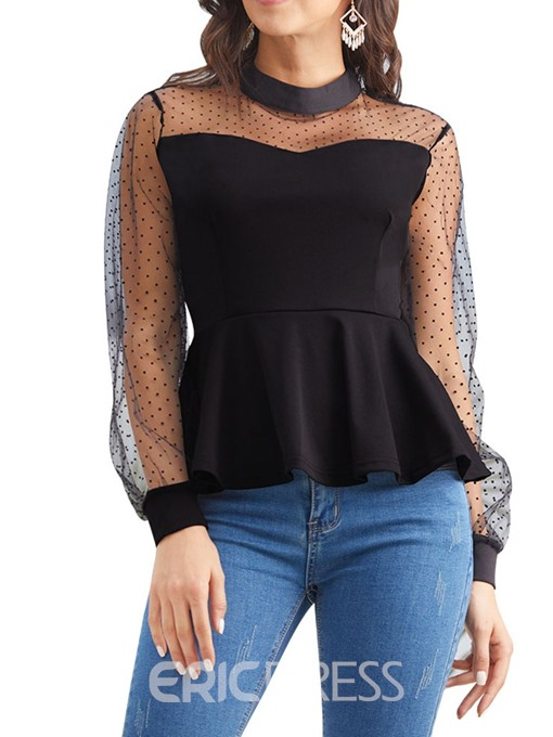 Ericdress Patchwork See-Through Lantern Sleeve Blouse