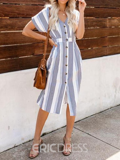 Ericdress Short Sleeve V-Neck Mid-Calf Striped Casual Dress