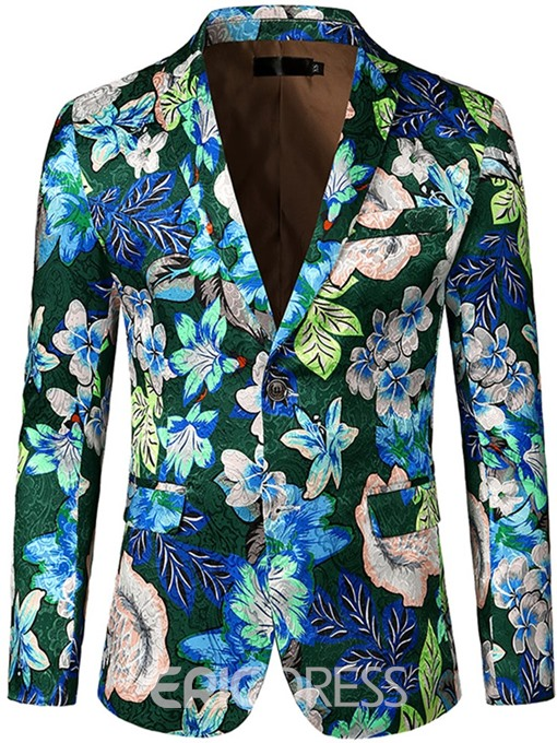 Ericdress Color Block Mens One Button Blazer
