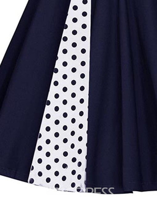 Ericdress Print Polka Dots Mid-Calf A-Line Patchwork Dress