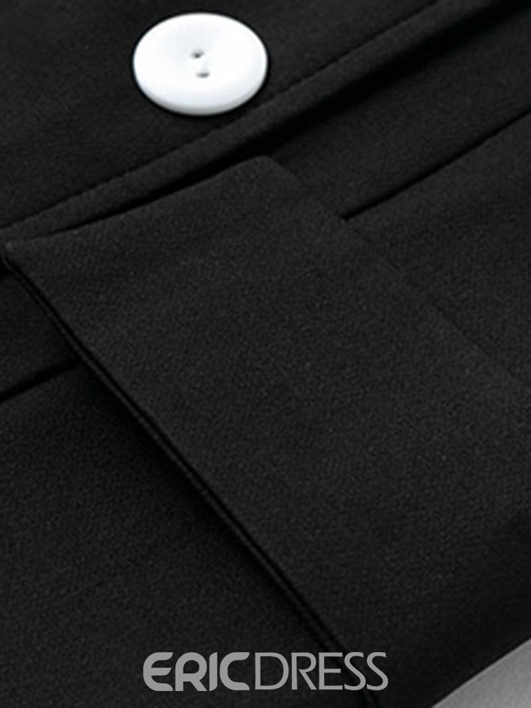 Ericdress Above Knee Pocket Button Plain Double-Breasted Dress
