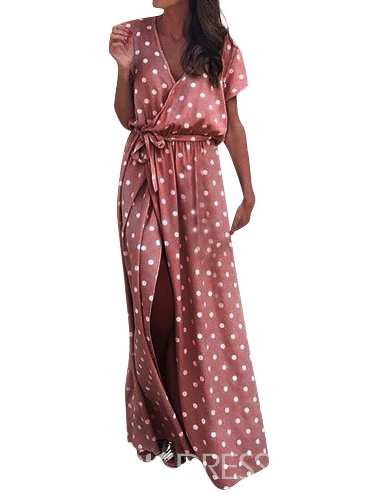 Ericdress Floor-Length Split V-Neck A-Line Polka Dots Dress