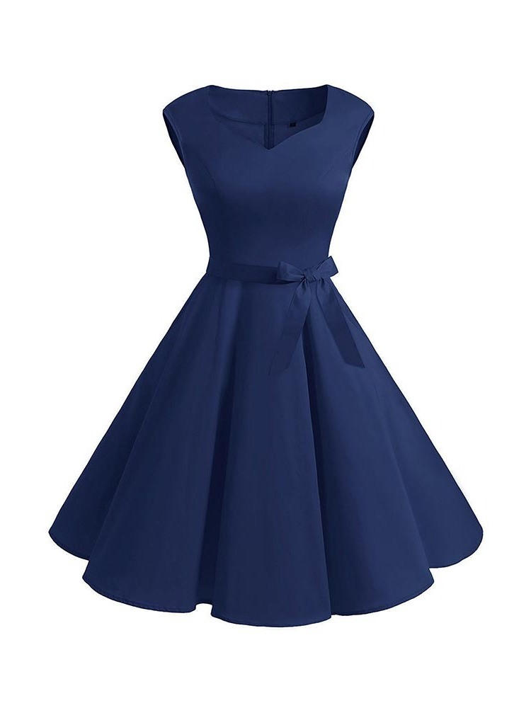 Ericdress Sleeveless Knee-Length Bowknot Pleated A-Line Dress
