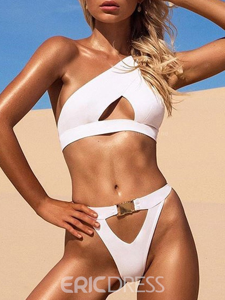Ericdress Asymmetric Plain Hollow Sexy Swimsuit