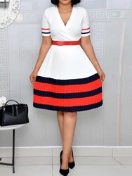 Ericdress Short Sleeve V-Neck Knee-Length Color Block A-Line Dress(Without Waistband) thumbnail