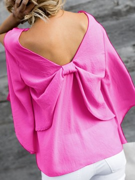 Ericdress Backless V-Neck Bowknot Split Blouse