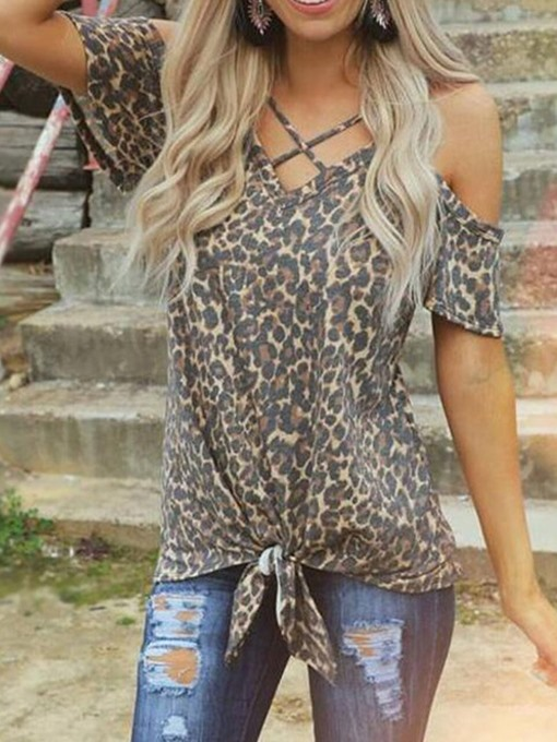 Ericdress Leopard Off-Shoulder V-Neck Lace-Up Casual T-Shirt