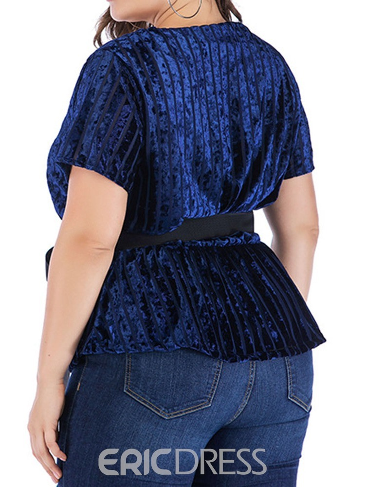 Ericdress V-Neck Bowknot Plus Size Casual T-Shirt
