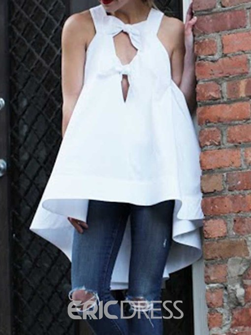 Ericdress Asymmetric Bowknot Plain Loose Tank Top