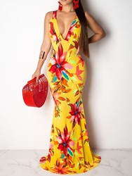 Ericdress African Fashion Sleeveless Floor-Length Floral Bodycon Dress