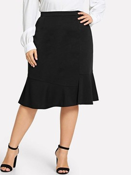 Ericdress Plus Size A-Line Plain Knee-Length Skirt