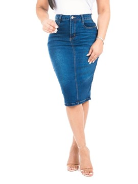 Ericdress Plain Denim, figurbetonter, knielanger Rock