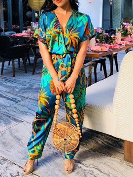 Ericdress African Fashion Floral Print Slim Jumpsuit