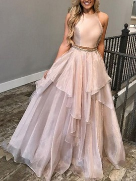 Ericdress Jewel Neck Beading Two Piece Prom Dress 2019