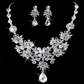 Necklace Korean Crystal Inlaid Jewelry Sets (Wedding)