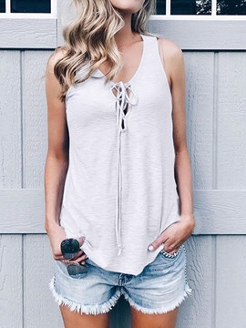 Ericdress Bowknot Hollow Summer Loose Tank Top