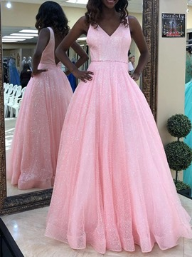 Ericdress V-Neck Beading Sequins Pearl Pink Prom Dress 2019