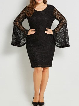 Ericdress Plus Size Flare Sleeve Hollow Knee-Length Lace Bodycon Dress