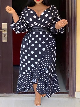 Ericdress Plus Size Polka Dots Asymmetric Ruffles V-Neck Dress