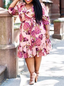 Ericdress Plus Size Mid-Calf V-Neck Floral A-Line Pullover Dress