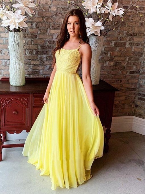 Ericdress Spaghetti Straps Sequins Daffodil Prom Dress 2019