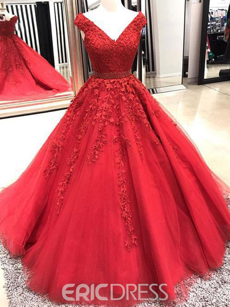 Ericdress V-Neck Appliques Ball Gown Prom Dress 2019