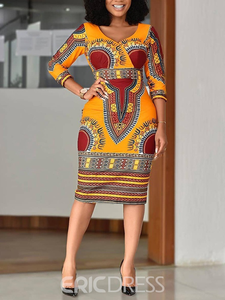 ericdress moda africana con cuello en V color block vestido regular de bodycon