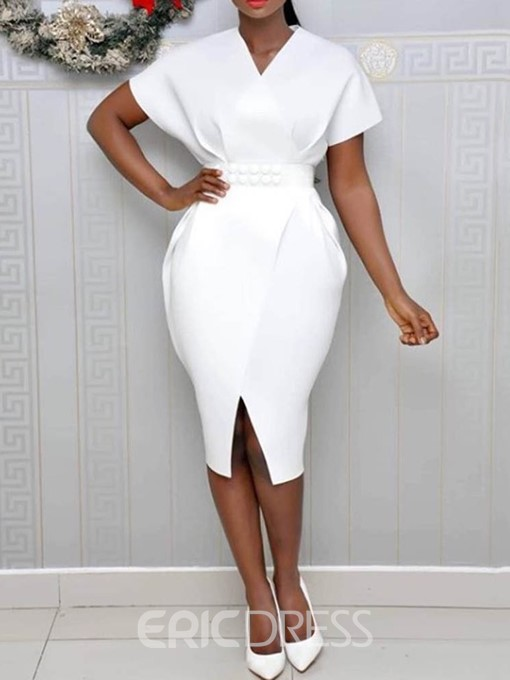 Ericdress Short Sleeve V-Neck Split Plain Office Lady Bodycon Dress