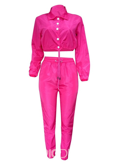 Ericdress Button Single-Breasted Plain Shirt And Pants Two Piece Sets