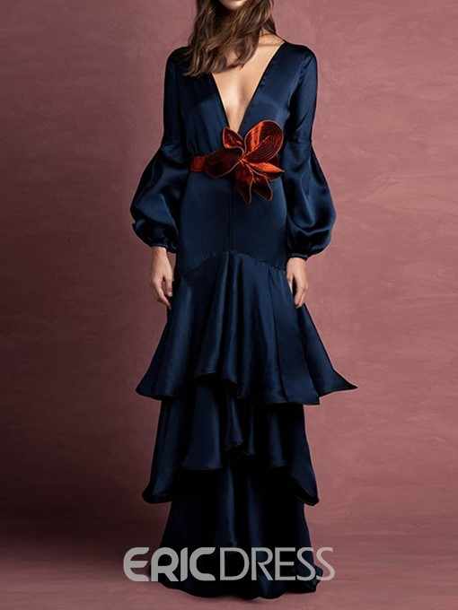 Ericdress Pleated V-Neck Long Sleeve Plain Mid Waist Layered Dress