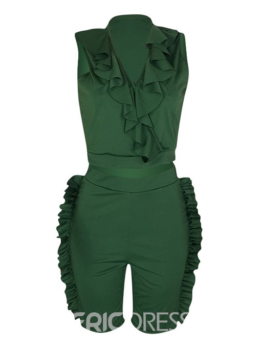 Ericdress Plain Ruffles Skinny Vest And Shorts Two Piece Sets