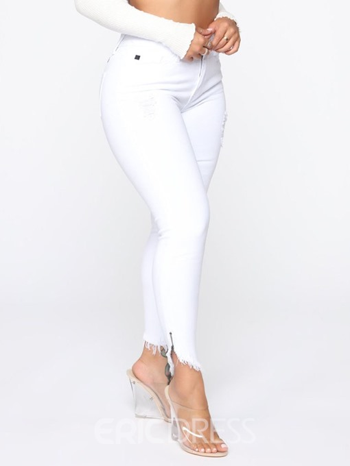 Ericdress Zipper Button Plain Skinny Jeans