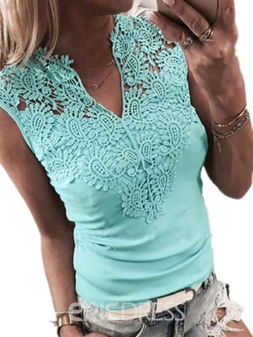 Ericdress Patchework Lace V-Neck Sexy Tank Top