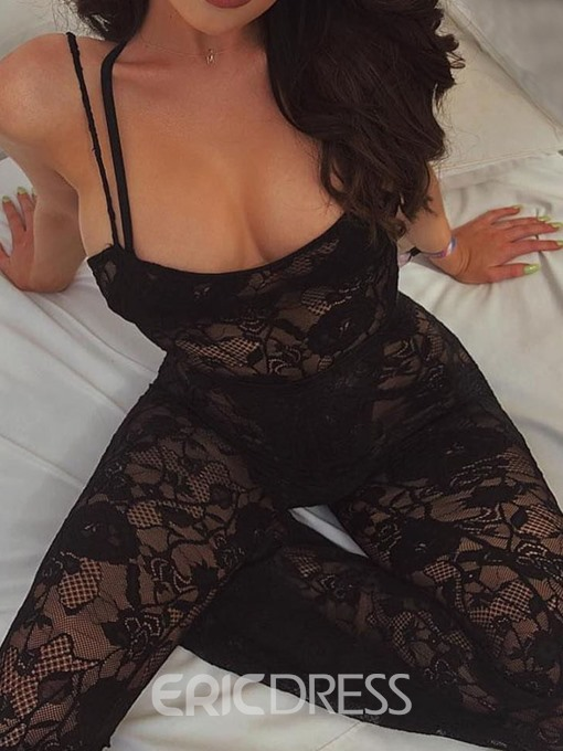 Ericdress Lace See-Through Plain Bellbottoms Sexy Jumpsuit