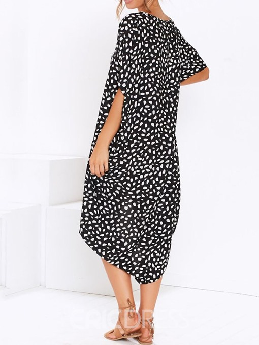 Ericdress Round Neck Asymmetric Mid-Calf Leopard Batwing Sleeve Dress