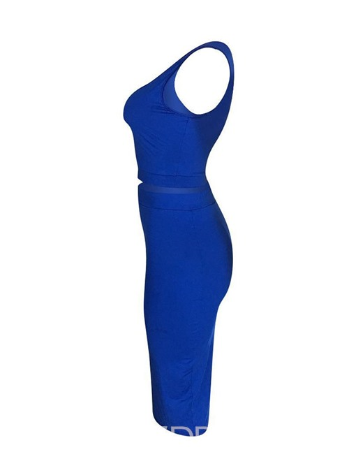 Ericdress Plain Bodycon Sexy Skinny Vest And Skirt Two Piece Sets
