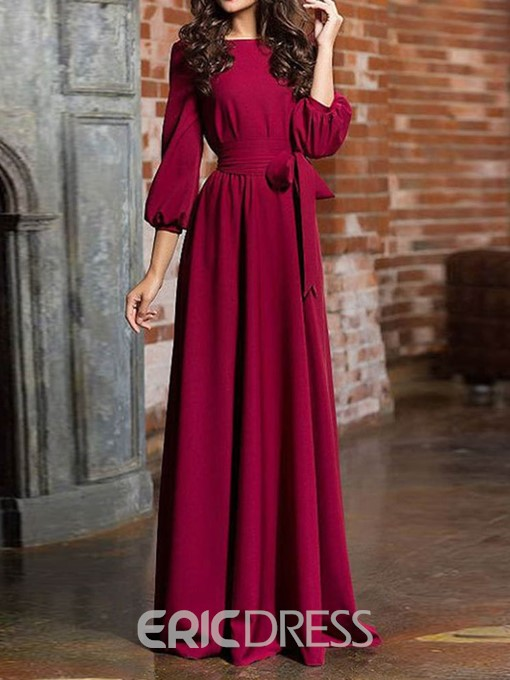 Ericdress Pocket A-Line Expansion Plain Maxi Dress