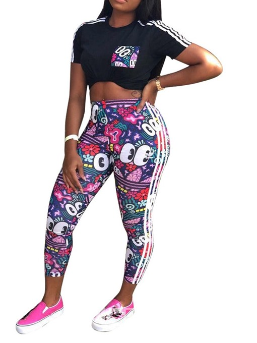 Ericdress Cartoon Casual Skinny T-Shirt And Pants Two Piece Sets