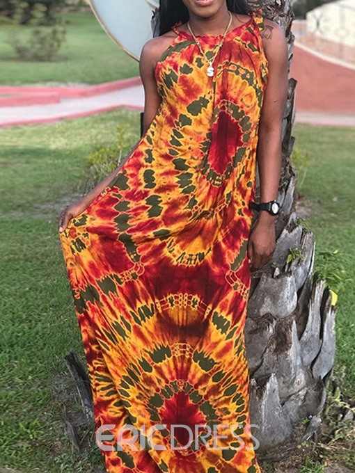 Ericdress African Fashion Sleeveless Floor-Length Mid Waist Maxi Dress