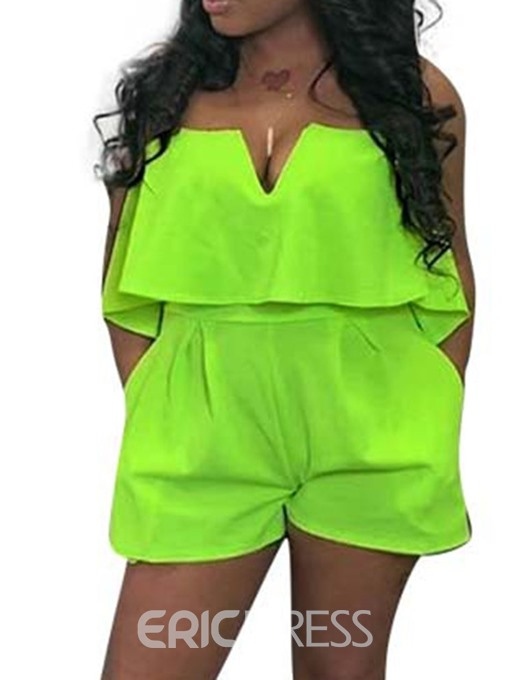 Ericdress Plain Off Shoulder Wide Legs Loose Romper