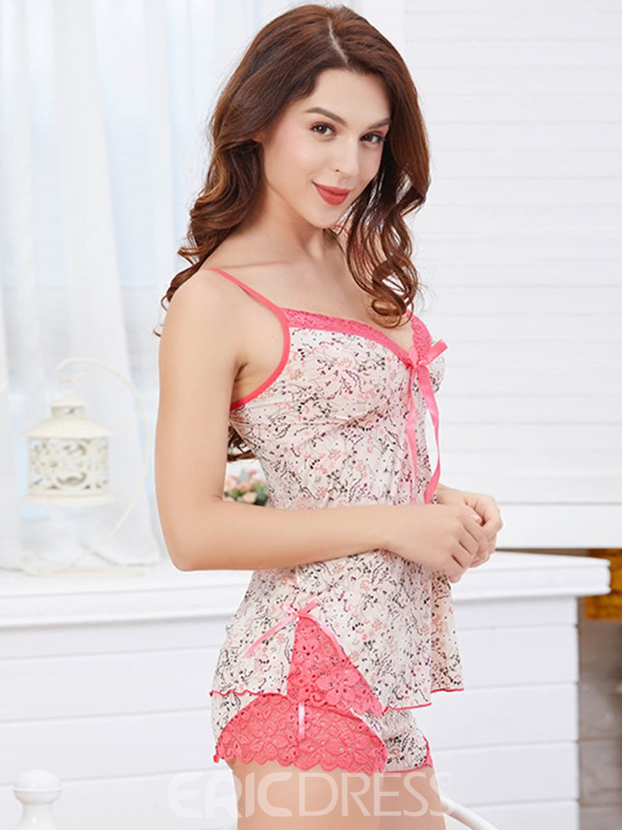 Ericdress Women Lace Sweet Pullover V-Neck Pajama Suit