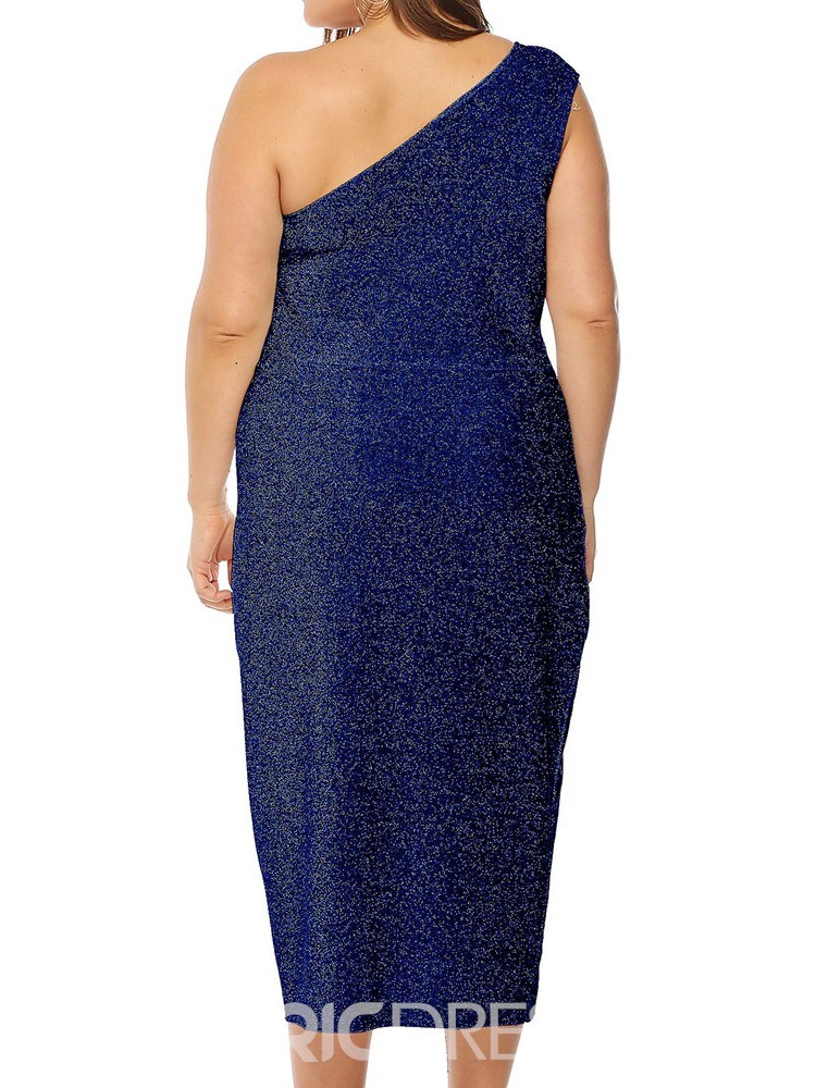 Ericdress Plus Size Lurex Split Sleeveless One-Shoulder Dress