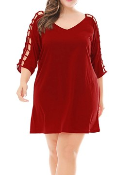 Ericdress Plus Size Hollow Above Knee Regular Plain Straight Dress