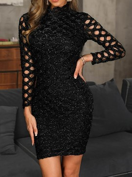 Ericdress Above Knee Stand Collar Sequins Bodycon Hollow Dress