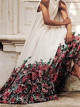 Ericdress Floral Print Expansion Sleeveless Ankle-Length Maxi Dress