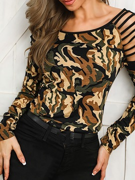 Ericdress Camouflage Print Hollow Sexy T-Shirt