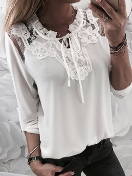 Ericdress Patchwork Lace Plain Chiffon Blouse