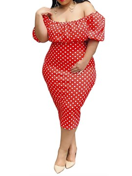 Ericdress Pencil Off Shoulder Half Sleeve Polka Dots Dress