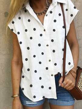 Ericdress Lapel Polka Dots Print Short Sleeve Standard Blouse