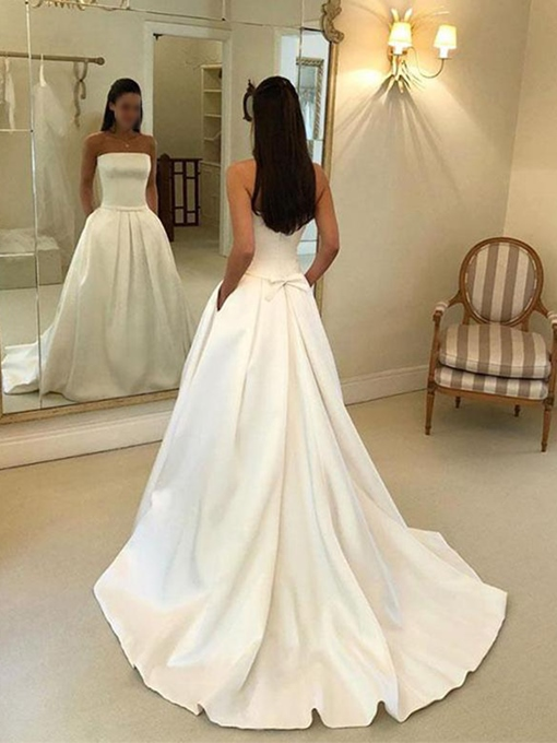 Ericdress Strapless Pockets A-Line Church Wedding Dress